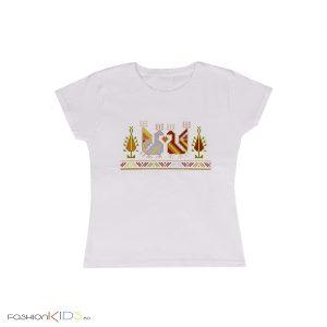 Дамска тениска с къс ръкав с принт българска шевица