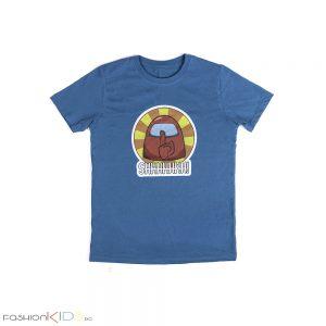 Детска универсална тениска AMONG US в синьо със всички любими герои