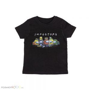 Детска универсална тениска AMONG US в черно със всички любими герои