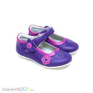 Детски обувки от естествена кожа за момиче в лилаво с контрастни цикламени цветя