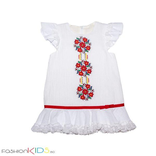 Детска памучна рокля, богато бродирана с български шевици