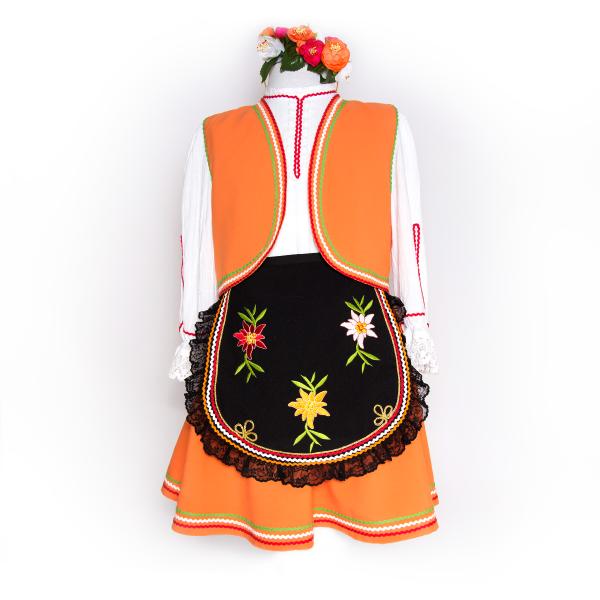 Детска тракийска народна носия за момиче от пет части с бродерии в оранжево