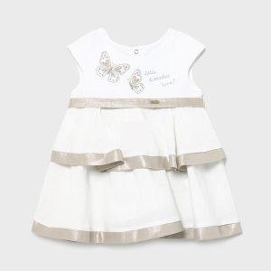 Официална бебешка рокля MAYORAL от лен в бяло с ефектни волани и нежна златисто- сребриста бродерия на пеперуди.
