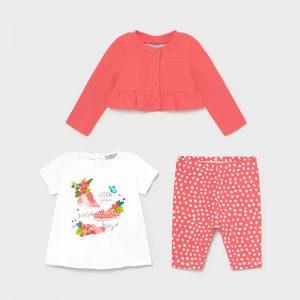 Бебешки комплект от три части- туника, клин и жилетка MAYORAL за момиче в корал