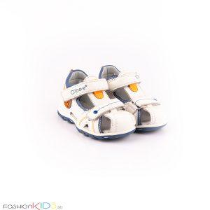 Бебешки сандали за момче в бяло и контрастни сини и оранжеви елементи с анатомична подметка от естествена кожа