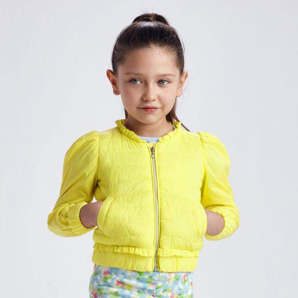 Детско яке против вятър MAYORAL за момиче в жълто от 100% рециклиран полиестер