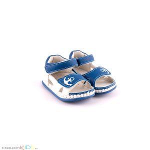 Бебешки сандали за момче за прохождане в синьо и бяло с ефектна декорация с котва и с две коригиращи лепки