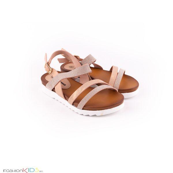 Елегантни детски сандали за момиче в златисто розово с анатомично ходило