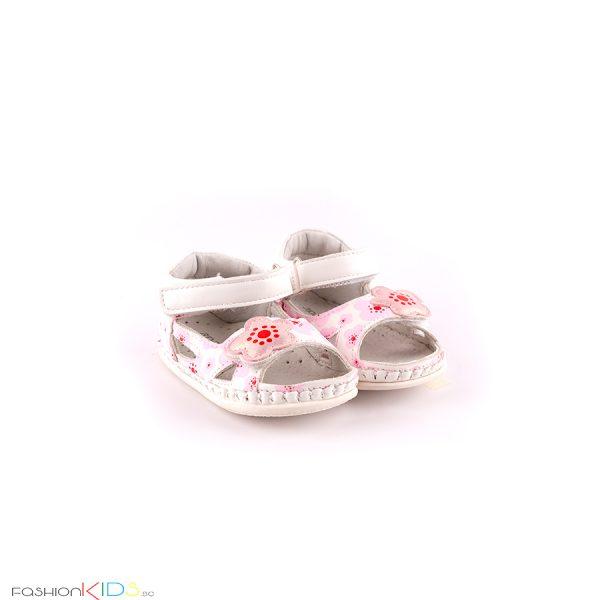 Анатомични бебешки сандали за момиче за прохождане в бяло и нежни розови цветеца с две коригиращи лепки