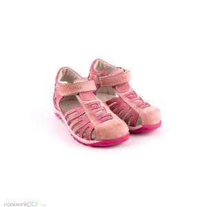Бебешки сандали Капчица за момиче в розово от естествена кожа, произведени в България