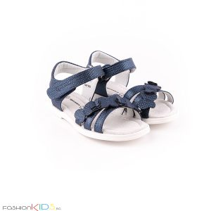 Елегантни детски сандали за момиче в тъмносиньо с анатомично ходило икоригираща велкро лепка