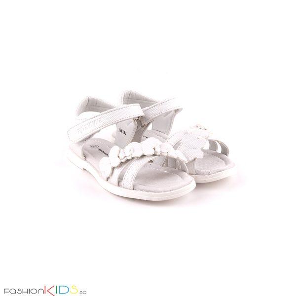 Елегантни детски сандали за момиче в бяло с анатомично ходило икоригираща велкро лепка