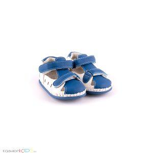 Бебешки анатомични сандали за прохождане в бяло и синьо за момче с две коригиращи лепки