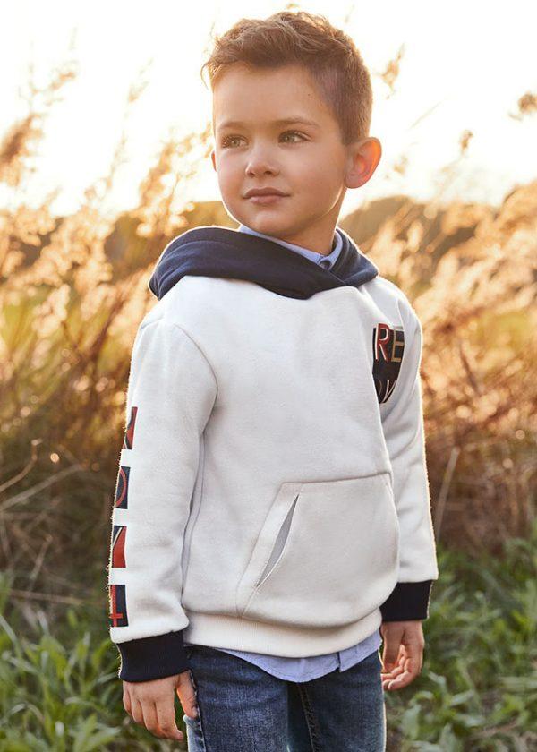 Детски суичер- худи MAYORAL за момче в бяло с качулка.